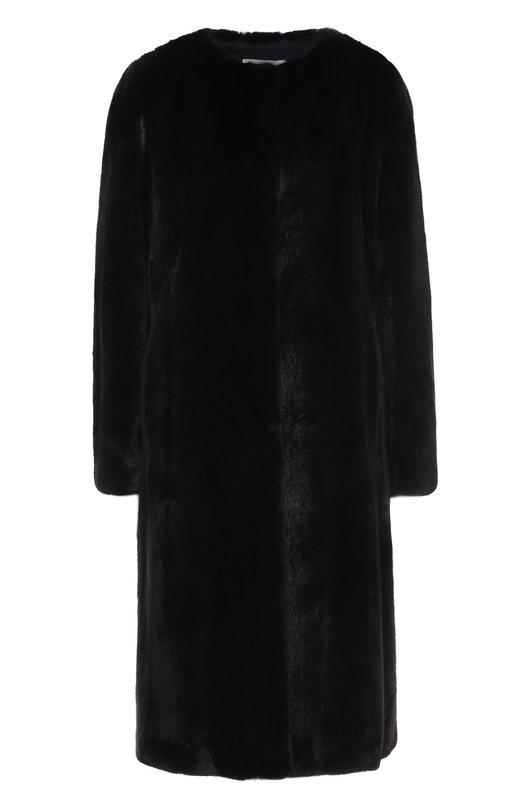 Купить Шуба свободного кроя с круглым вырезом Yves Salomon, 8WYM74510VMLX, Франция, Черный, Подкладка-шелк: 100%; Мех натуральный: 100%;