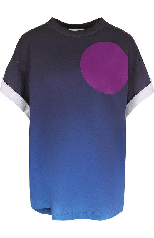 Купить Хлопковая футболка с круглым вырезом и принтом 3.1 Phillip Lim, F171-1825TWS, Португалия, Синий, Хлопок: 100%;