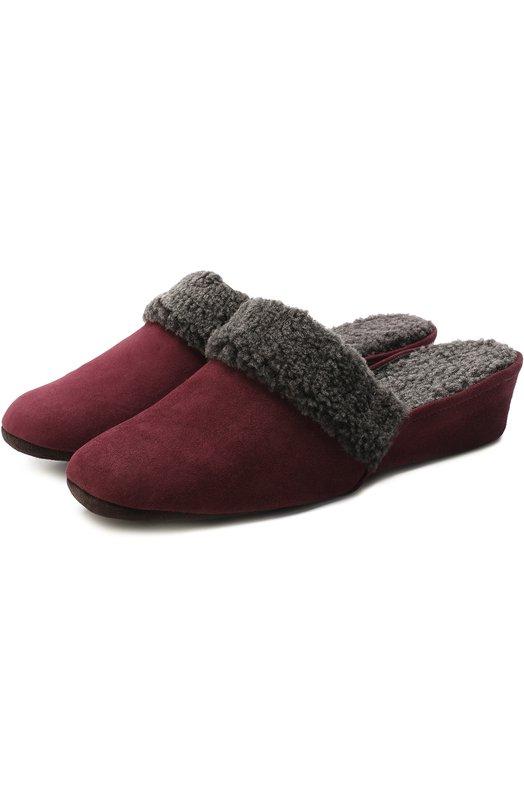 Купить Замшевые домашние туфли с внутренней отделкой из овчины Homers At Home, 9854/ANTE, Испания, Бордовый, Замша натуральная: 100%; Подошва-замша: 100%; Стелька-овчина: 100%; Отделка мех./овчина/: 100%;