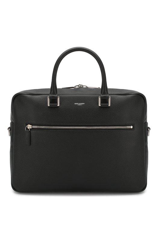 Купить Кожаная сумка для ноутбука с плечевым ремнем Saint Laurent, 480586/DTI0E, Италия, Черный, Кожа натуральная: 100%;