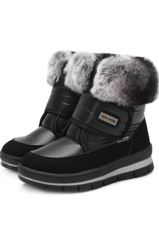 Купить Текстильные ботинки с меховой отделкой и застежками велькро Jog Dog, 13011R/TU0N0BALTIC0/29-35, Румыния, Черный, Подошва-резина: 100%; Текстиль: 100%; Отделка мех./кролик/: 100%; Стелька-шерсть: 100%;