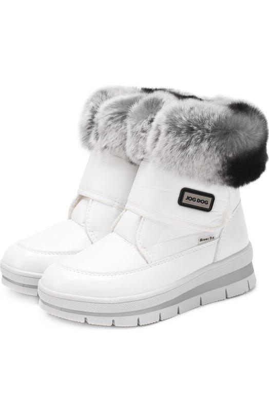 Купить Текстильные ботинки с меховой отделкой и застежками велькро Jog Dog, 13011R/ZAFFIR0BALTIC0/29-35, Румыния, Белый, Подошва-резина: 100%; Текстиль: 100%; Отделка мех./кролик/: 100%; Стелька-шерсть: 100%;