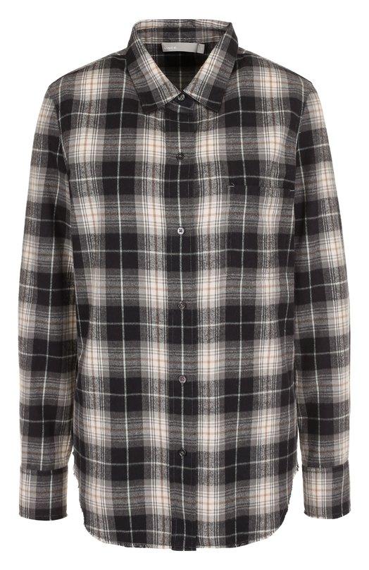 Купить Хлопковая блуза прямого кроя в клетку Vince, V453611950, Китай, Серо-бежевый, Хлопок: 100%;