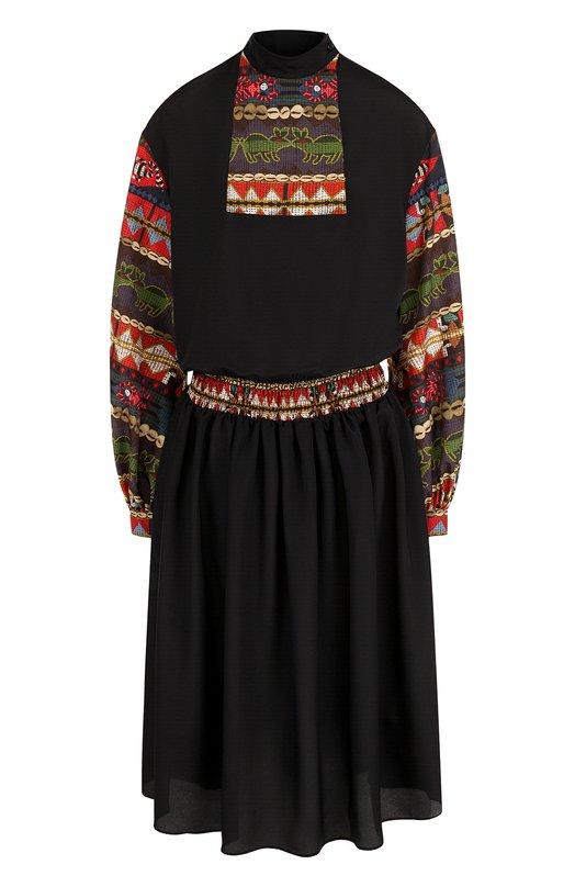 Приталенное платье-миди с длинным рукавом Stella Jean, J V 037 80 T 9128, Италия, Черный, Полиэстер: 100%;  - купить