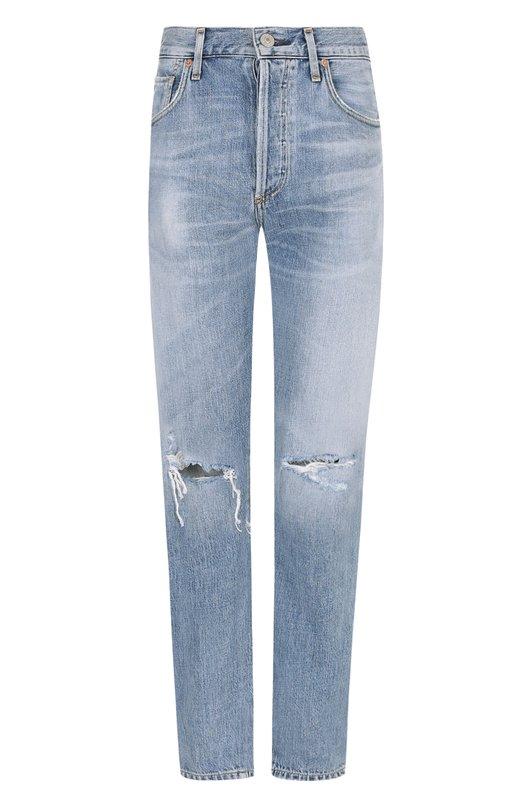 Купить Укороченные джинсы прямого кроя с потертостями Citizens Of Humanity, 1577-749, США, Голубой, Хлопок: 77%; Вискоза: 23%;