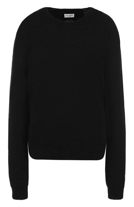 Вязаный пуловер с круглым вырезом Saint Laurent, 482527/Y1VI1, Италия, Черный, Мохер: 67%; Шерсть: 5%; Полиамид: 28%;  - купить
