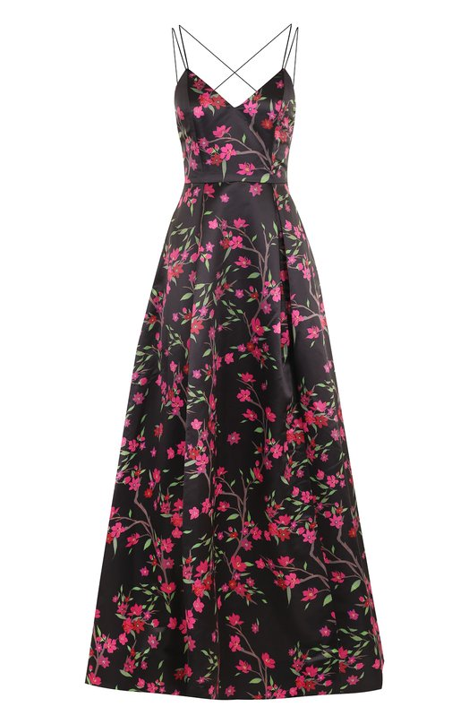 Купить Приталенное платье-макси с открытой спиной и цветочным принтом Alice + Olivia, CG710P63501, Китай, Черный, Подкладка-полиэстер: 94%; Подкладка-эластан: 6%; Полиэстер: 100%;