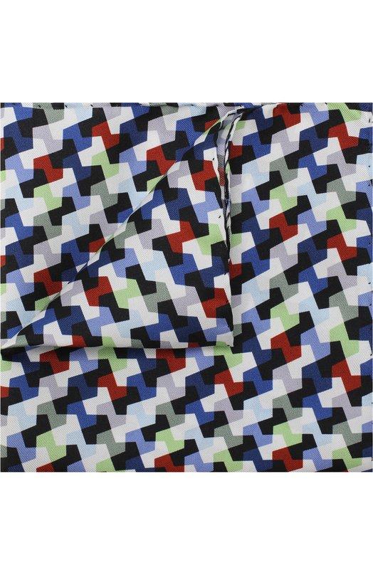 Шелковый платок с принтом Eton, A000 30056, Италия, Синий, Шелк: 100%;  - купить