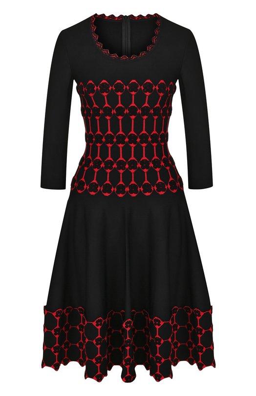 Приталенное мини-платье с укороченным рукавом Alaia. Цвет: черный