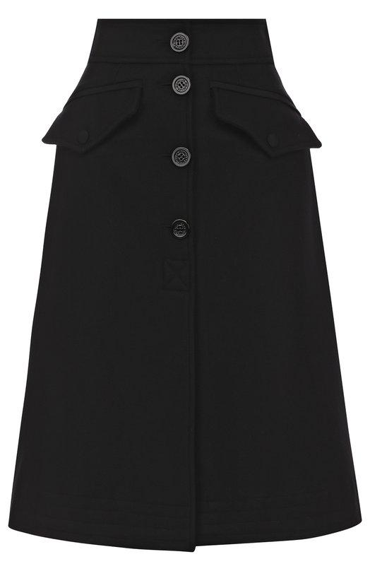 Купить Однотонная шерстяная юбка-миди с широким поясом Moncler, C2-093-25603-80-57522, Венгрия, Черный, Шерсть: 75%; Полиамид: 25%; Полиэстер: 100%; Подкладка-вискоза: 100%;