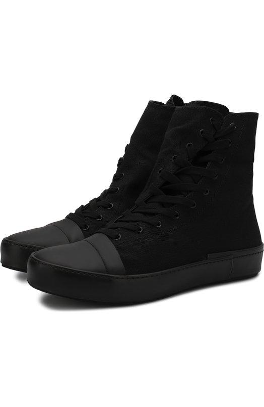 Купить Высокие текстильные кеды на шнуровке с молнией Yohji Yamamoto, HK-E02-061, Китай, Черный, Стелька-кожа: 100%; Подошва-резина: 100%; Отделка кожа натуральная: 100%; Текстиль: 100%;