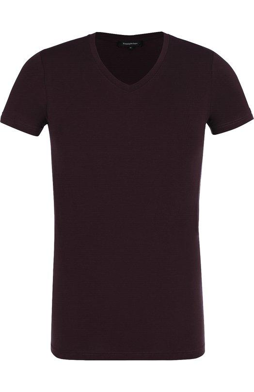 Купить Шелковая футболка с V-образным вырезом Ermenegildo Zegna, N3M800250, Италия, Бордовый, Шелк: 100%;