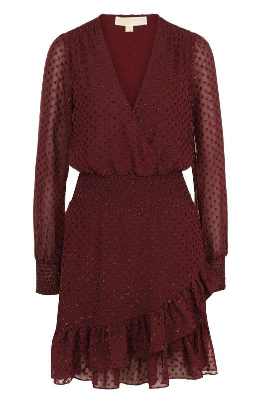 Купить Приталенное мини-платье с V-образным вырезом MICHAEL Michael Kors, MH78XEY7YH, Китай, Бордовый, Полиэстер: 100%; Подкладка-полиэстер: 100%;