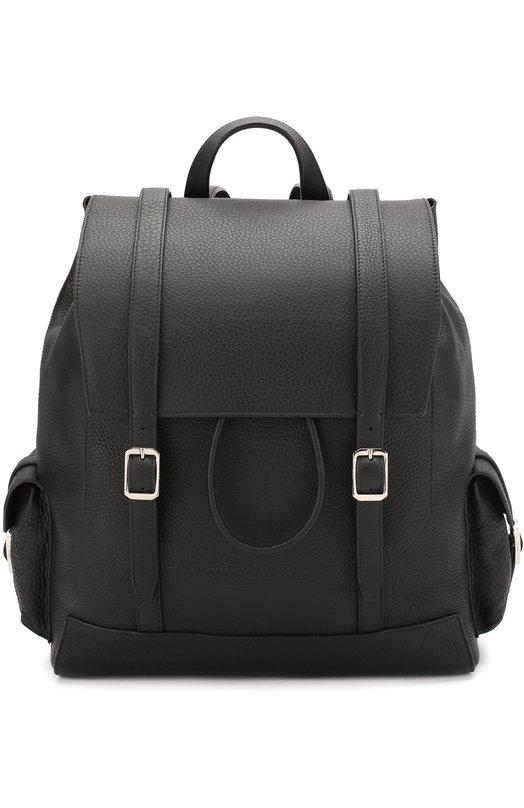 Купить Кожаный рюкзак с клапаном Brioni, 0IZA/P5709, Италия, Черный, Кожа натуральная: 100%;