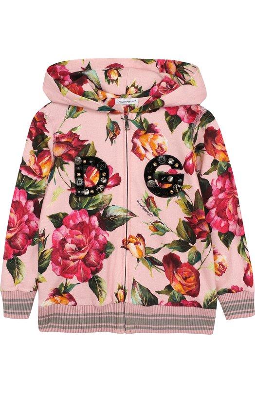 Купить Спортивный кардиган из хлопка с принтом и капюшоном Dolce & Gabbana, 0131/L5JWM1/G7L0G/2-6, Италия, Розовый, Хлопок: 100%;
