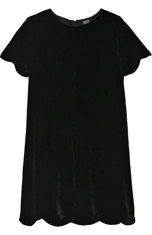 Купить Платье прямого кроя с фигурной отделкой Armani Junior, 6Y3A34/3N1KZ/11A-16A, Италия, Черный, Вискоза: 83%; Подкладка-вискоза: 64%; Подкладка-полиэстер: 36%; Шелк: 17%;