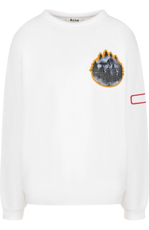Купить Хлопковый свитшот с круглым вырезом и контрастной отделкой Acne Studios, 2HC175/XXS-M, Португалия, Белый, Хлопок: 100%;