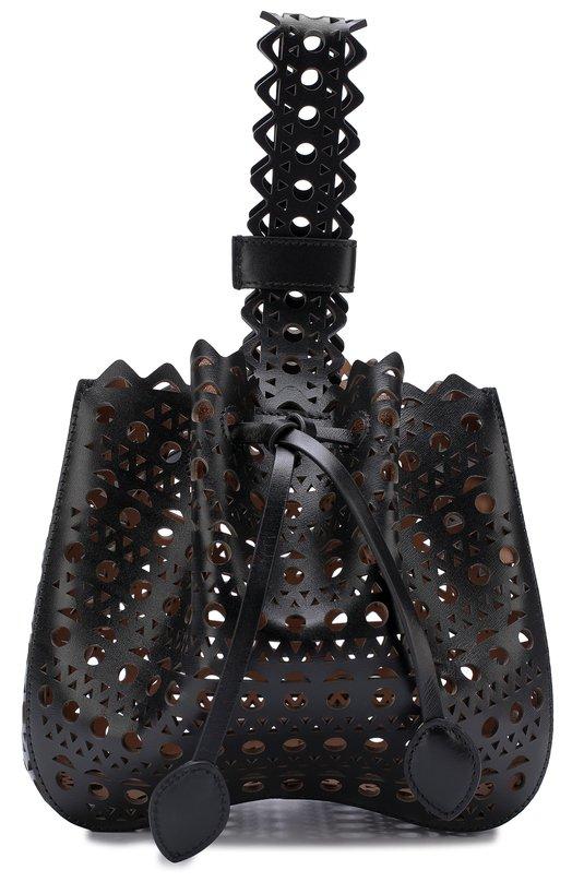 Сумка из кожи с перфорацией Alaia. Цвет: черный