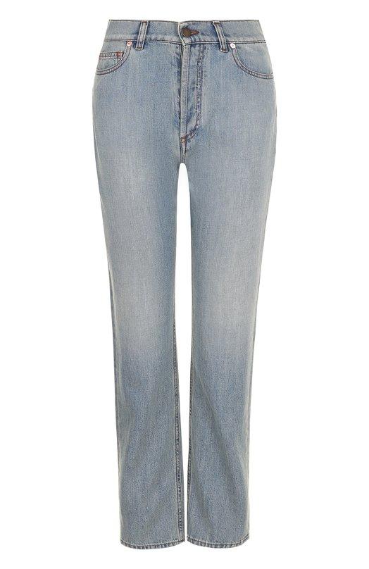 Купить Укороченные джинсы прямого кроя с потертостями Valentino, PB3DD05T/3T4, Италия, Голубой, Хлопок: 100%;