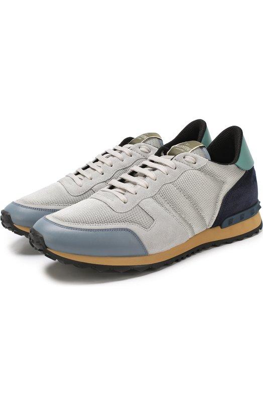 Купить Комбинированные кроссовки Valentino Garavani Rockrunner Valentino, PY2S0723/TCV, Италия, Светло-серый, Текстиль: 67%; Полиуретан: 33%; Подошва-резина: 100%; Стелька-текстиль: 100%;