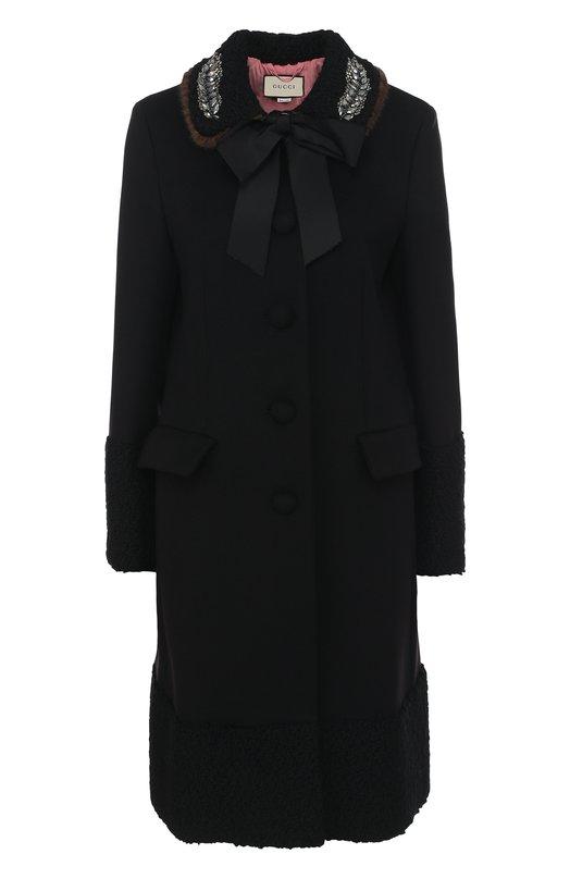 Купить Шерстяной пальто с отделкой из меха норки Gucci, 475978/ZJZ21, Италия, Черный, Подкладка-ацетат: 71%; Подкладка-шелк: 29%; Шерсть: 100%; Отделка мех./норка/: 100%;
