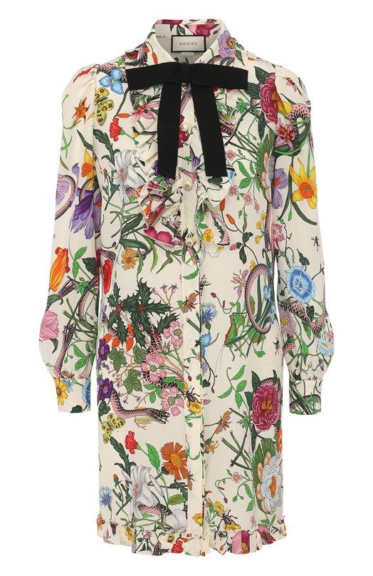 Купить Шелковое мини-платье с принтом и контрастным бантом Gucci Италия 5180826 476100/ZJP71