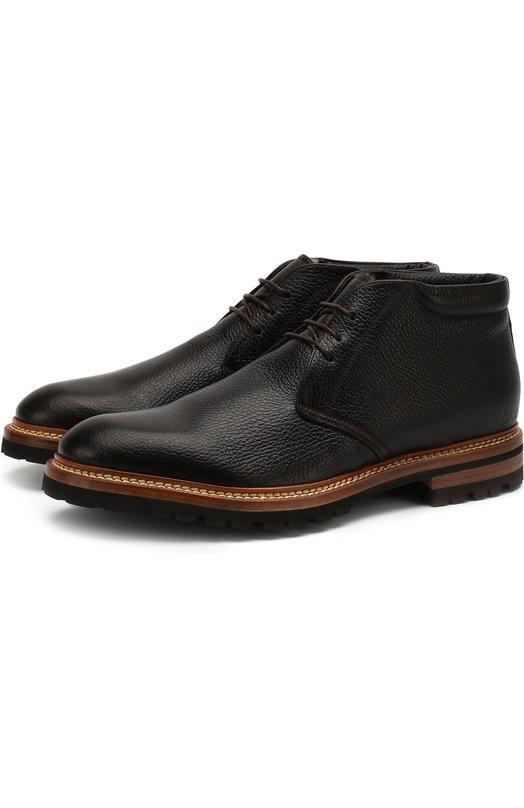 Купить Кожаные ботинки на шнуровке Kiton, USSLUXEN00352, Италия, Темно-коричневый, Кожа натуральная: 100%; Стелька-кожа: 100%; Подошва-резина: 100%;
