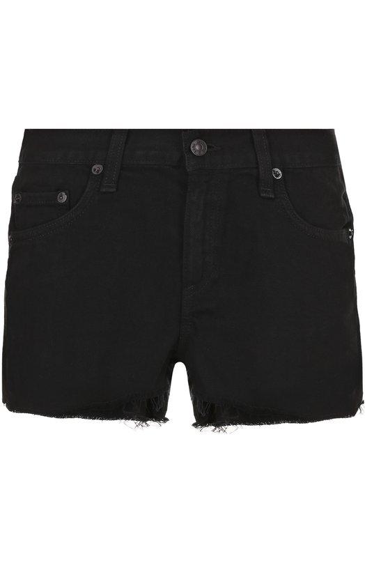 Купить Джинсовые мини-шорты с потертостями Rag&Bone, W19070160BLF, США, Черный, Хлопок: 65%; Тенсел: 35%;