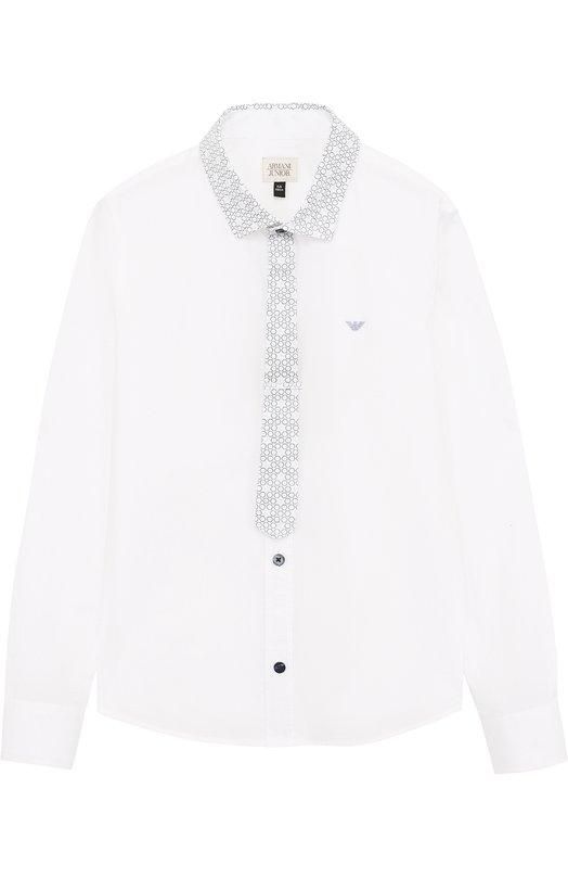 Хлопковая рубашка с отделкой Armani Junior