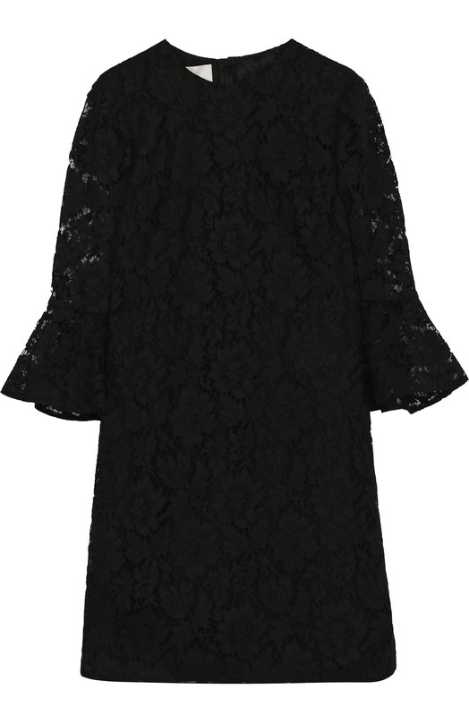 Купить Кружевное платье-миди с расклешенными рукавами Valentino, PB3VAAY6/1EC, Италия, Черный, Подкладка-шелк: 91%; Подкладка-эластан: 9%; Полиамид: 8%; Хлопок: 71%; Вискоза: 21%; Отделка-полиамид: 100%;