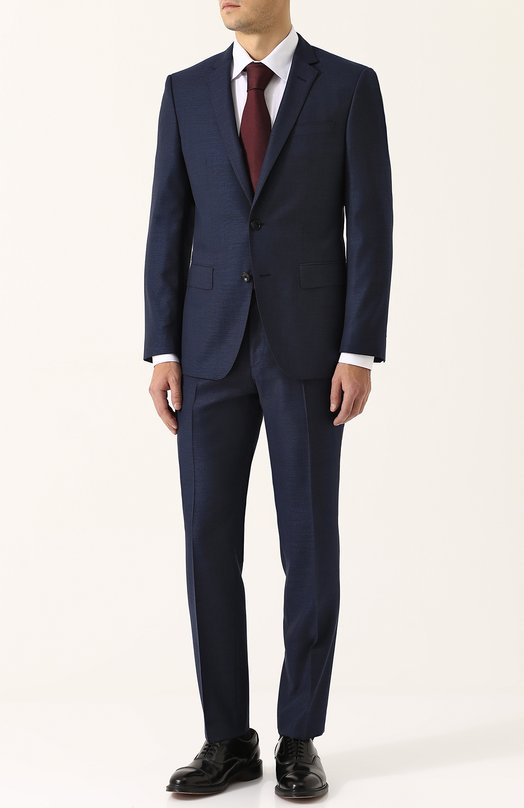 Купить Шерстяной костюм с пиджаком на двух пуговицах BOSS, 50380050, Болгария, Темно-синий, Шерсть: 100%;