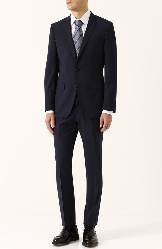 Купить Шерстяной костюм с пиджаком на двух пуговицах BOSS, 50380019, Болгария, Темно-синий, Шерсть: 100%;