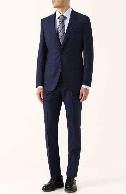 Купить Шерстяной костюм с пиджаком на двух пуговицах BOSS, 50379910, Болгария, Темно-синий, Шерсть: 100%;
