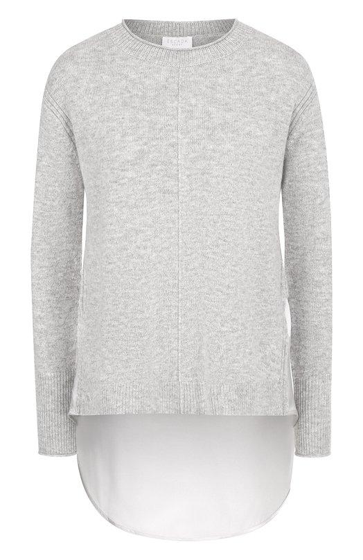 Купить Пуловер из смеси шерсти и кашемира с удлиненной спинкой Escada Sport, 5025179, Китай, Серый, Шерсть: 55%; Полиамид: 30%; Кашемир: 15%;