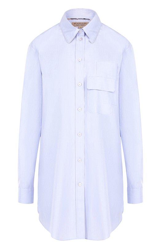 Купить Однотонная хлопковая блуза свободного кроя Burberry, 4058181, Тунис, Голубой, Хлопок: 100%;