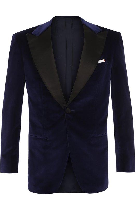 Купить Бархатный пиджак с остроконечными лацканами Kiton, UGSM861K05P55, Италия, Темно-синий, Хлопок: 99%; Подкладка-купра: 100%; Эластан: 1%;