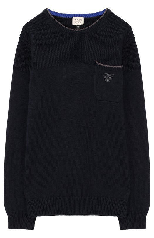 Пуловер из хлопка и шерсти с накладным карманом Armani Junior