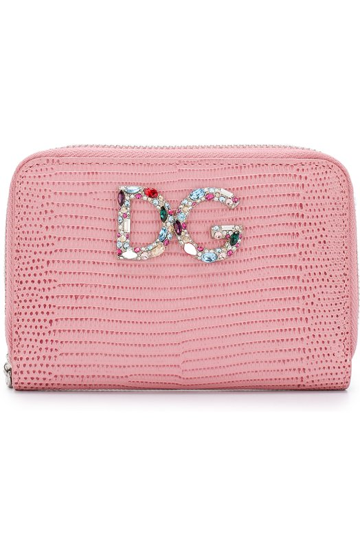 Купить Кожаный кошелек на молнии с логотипом бренда Dolce & Gabbana, BI0920/AH330, Италия, Розовый, Кожа натуральная: 100%;