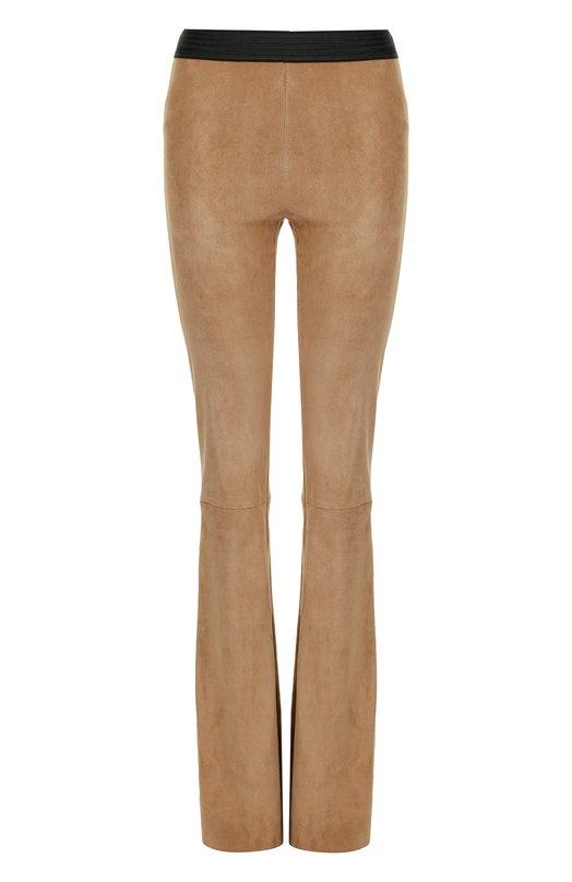 Купить Замшевые расклешенные брюки с контрастным поясом DROMe, DPD1580RP/D734, Италия, Бежевый, Замша натуральная: 100%; Кожа: 100%;
