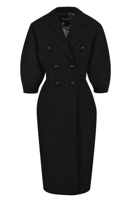 Купить Шерстяное двубортное пальто с укороченным рукавом Dolce & Gabbana, F0T66T/FUBCI, Италия, Черный, Шерсть: 99%; Подкладка-полиэстер: 97%; Подкладка-эластан: 3%; Эластан: 1%;