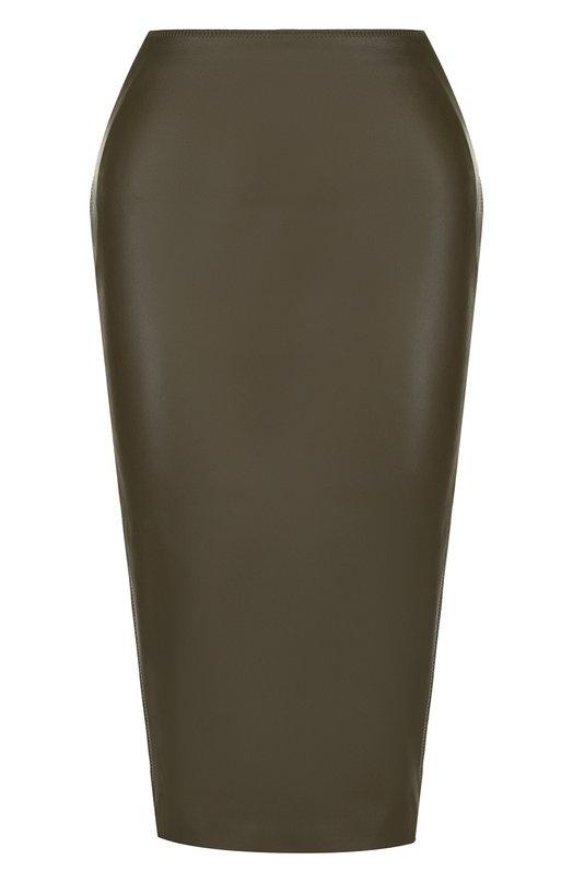 Купить Однотонная кожаная юбка-карандаш Tom Ford, GCL742-LEX178, Италия, Хаки, Подкладка-шелк: 94%; Подкладка-эластан (полиуретан): 6%; Кожа: 100%; Кожа натуральная: 100%;