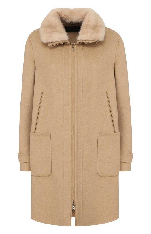 Купить Кашемировое пальто свободного кроя с отделкой из меха норки Loro Piana, FAG3277, Италия, Бежевый, Кашемир: 100%; Отделка кожа натуральная: 100%; Воротник/норка/: 100%;