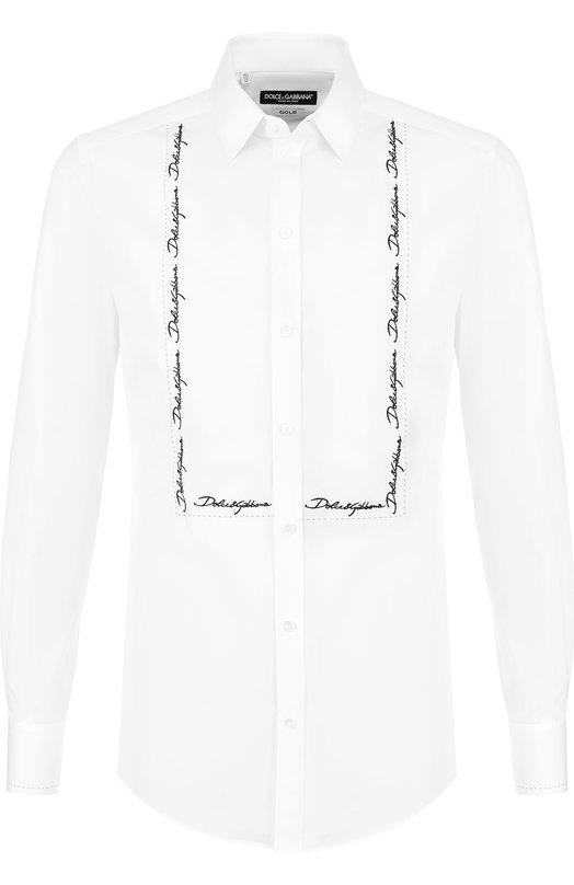 Купить Хлопковая сорочка с воротником кент Dolce & Gabbana, G5EY9Z/FU5GK, Италия, Белый, Хлопок: 100%;