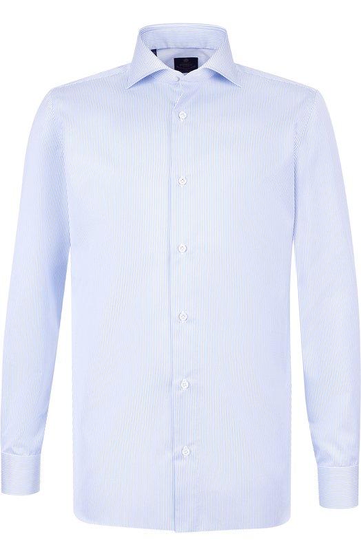 Хлопковая сорочка с воротником акула Luigi Borrelli, EV08/TS5278, Италия, Голубой, Хлопок: 100%;  - купить