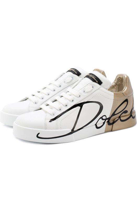Купить Кожаные кеды Portofino с контрастной отделкой Dolce & Gabbana, 0112/CK1520/AI053, Италия, Белый, Кожа натуральная: 100%; Стелька-кожа: 100%; Подошва-резина: 100%;