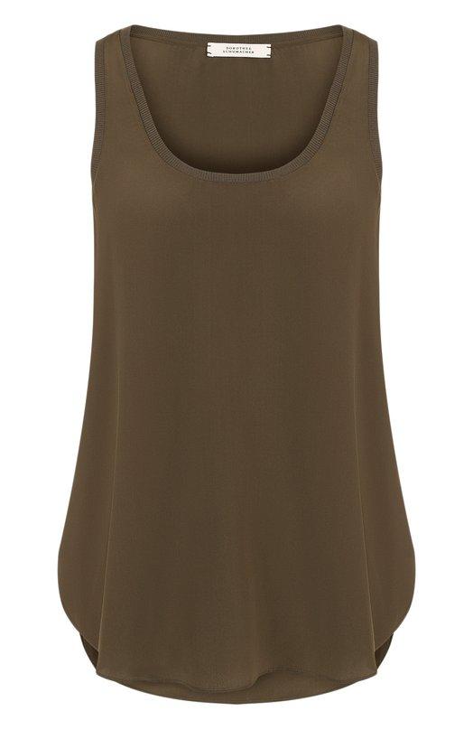 Купить Однотонный шелковый топ с круглым вырезом Dorothee Schumacher, 749001, Китай, Зеленый, Шелк: 100%;