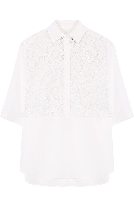 Купить Шелковая блуза свободного кроя с кружевными вставками Valentino, PB3AA01V/1EC, Италия, Белый, Полиамид: 8%; Хлопок: 71%; Вискоза: 21%; Шелк: 100%;