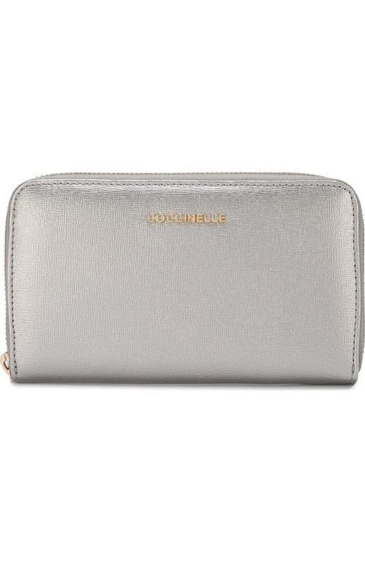 Купить Кожаный кошелек на молнии с логотипом бренда Coccinelle, E2 BW1 11 32 01, Китай, Серебряный, Кожа натуральная: 100%;