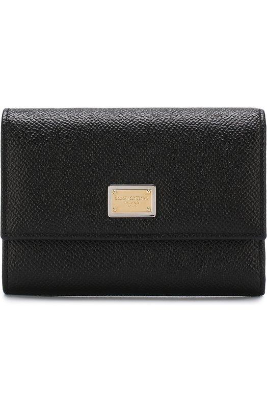 Купить Кожаный кошелек с клапаном и логотипом бренда Dolce & Gabbana, BI0924/A1001, Италия, Черный, Кожа натуральная: 100%;
