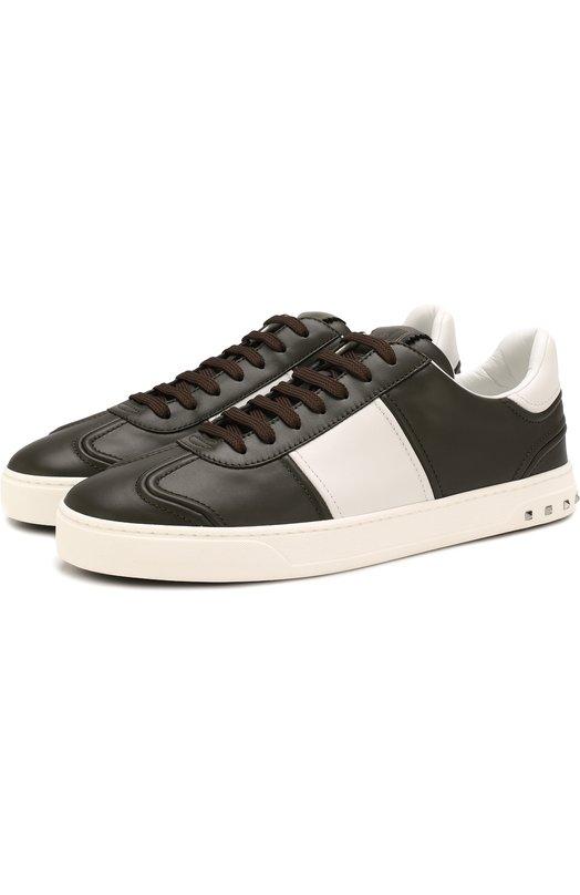 Купить Кожаные кеды Valentino Garavani Flycrew на шнуровке Valentino, PY2S0A08/HCM, Италия, Хаки, Кожа натуральная: 100%; Стелька-кожа: 100%; Подошва-резина: 100%;
